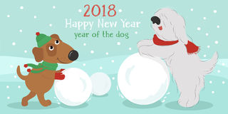 Christmas card. Dogs with snowball. Christmas card with cute cartoon dogs in hats and scarves with snow ball. Vector illustration Stock Photo