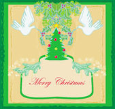 Christmas card with doves and mistletoe Stock Image