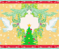 Christmas card with doves and mistletoe Stock Images