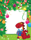 Christmas card and dragon Royalty Free Stock Photos