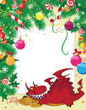 Christmas card and dragon with money Royalty Free Stock Images