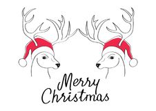 The christmas card with the draw of deer with Santa`s hat. Hand draw illustration. Royalty Free Stock Image