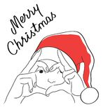 The christmas card with the draw of girl in Santa`s hat and Calligraphic. Stock Images