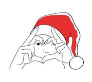 The christmas card with the draw of girl in Santa`s hat. vector illustration