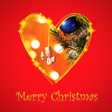 Christmas card with drawing heart frame. Christmas card with eve symbol in drawing heart frame Royalty Free Stock Image