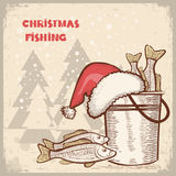 Christmas card.Drawing image of successful fishing Stock Photography
