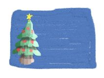 Christmas card (drawn by child). It's a cute Christmas card drawn with brushes. like an impressionist painting Stock Images