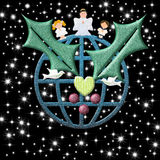 Christmas card,  earth with peace symbols Christmas Angel and ch Stock Images