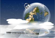 Christmas card with earth Royalty Free Stock Photo