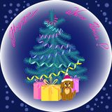Christmas card, elements for decoration of festive gifts, backgr. Christmas card, items to decorate the festive gifts, background. Christmas tree, dog, gifts Royalty Free Stock Images