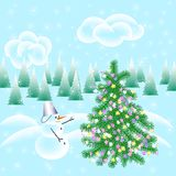 Christmas card, elements for decoration of festive gifts, backgr. Christmas card, items to decorate the festive gifts, background. Christmas tree, snowman Stock Photography