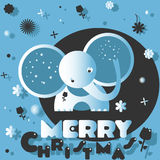 Christmas card with the elephant. On the blue background Stock Photo