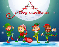 Christmas card with elf on fullmoon Royalty Free Stock Image