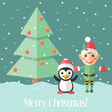 Christmas card with elf and penguin and fir tree Royalty Free Stock Photos