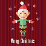 Christmas card with elf. Red holiday Christmas card with elf and snowflakes Royalty Free Stock Image