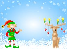 Christmas card with elf and reindeer Stock Photography