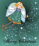 Christmas card with elf1 Royalty Free Stock Image