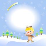 Christmas card with elk boy. Christmas card with cute elk boy Stock Photos