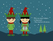 Christmas Card: Elves. An illustration of two elves standing in the snow. Illustrated joke, Why was santas helpers so depressed? They had low elf-esteem Stock Photos