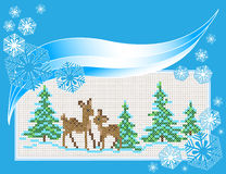 Christmas Card Embroidered with a cross. Blue Embroidered Christmas Card cross. Vector Stock Photography