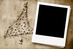 Christmas Card with empty photo frame Stock Image