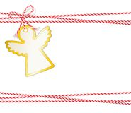 Christmas card Engel, Gift label with golden edging and cord tape, Label, Price tag, Gift tag, Sale tag, Stock Photo