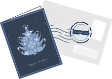 Christmas card and envelop with post stamp royalty free illustration