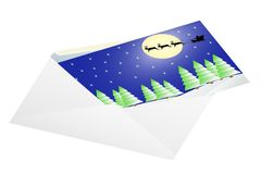 Christmas card in an envelope. Royalty Free Stock Photo