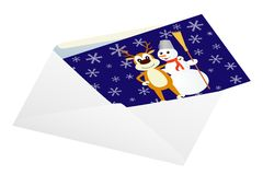 Christmas card in an envelope. Royalty Free Stock Image