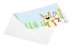 Christmas card in an envelope. Stock Photo