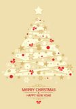 Christmas tree - vector. Christmas card with decorated Christmas tree. Eps file available stock illustration