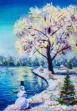 Christmas card, fairy winter landscape, Christmas tree with toys, cheerful snowman, beautiful snowy sakura tree against the blue p. Original painting Christmas stock image