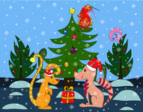 Christmas card with fantasy animals Stock Photo