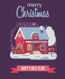 Christmas Card with Farm Winter House by Night stock illustration