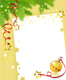 Christmas card with a festive branch and a ball. Vector illustration Stock Photos