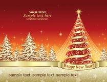 Christmas card with a festive Christmas tree Stock Image