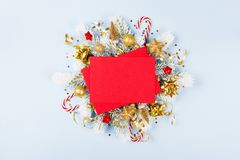 Christmas card with holiday decorations. Christmas card with festive decorations royalty free stock photos
