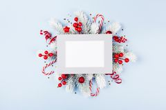 Christmas card with holiday decorations. Christmas card with festive decorations royalty free stock photo