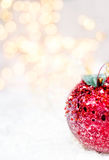 Christmas card with festive glowing decorations and Christmas li Stock Photo