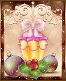 Christmas card with festive lantern, bow and frame ornament background Stock Photo