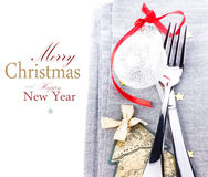 Christmas card with Festive  table place setting and christmas d Royalty Free Stock Image