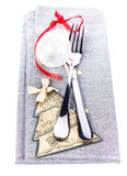 Christmas card with Festive  table place setting and christmas d Stock Photos