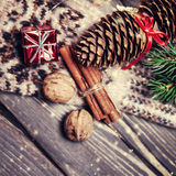 Christmas card with festive vintage decorations Royalty Free Stock Photography