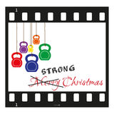 Christmas card filmstrip with kettlebells Royalty Free Stock Images