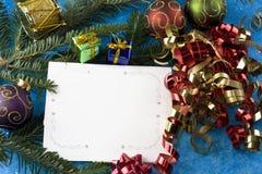Christmas card fir branch Royalty Free Stock Photo