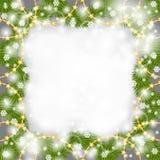 Christmas card of fir branch decorated beads garland Stock Photos