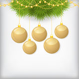 Christmas card with fir branch decorated gold balls. Vector illustrations of Christmas greeting card with fir branch decorated gold balls and gold beads Stock Images