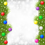 Christmas card with fir branch garland decorated multicolor ball Stock Image