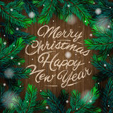 Christmas card with fir branch Stock Image