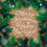 Christmas card with fir branch Royalty Free Stock Image